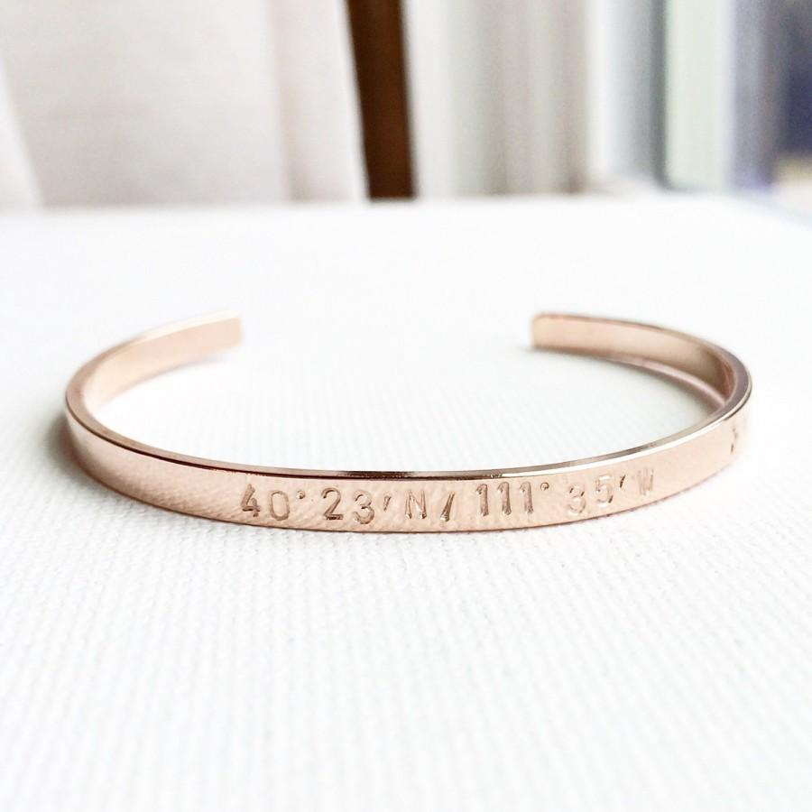 bangle gps coordinates latitude gift longitude custom coordinate bracelet jewelry silver