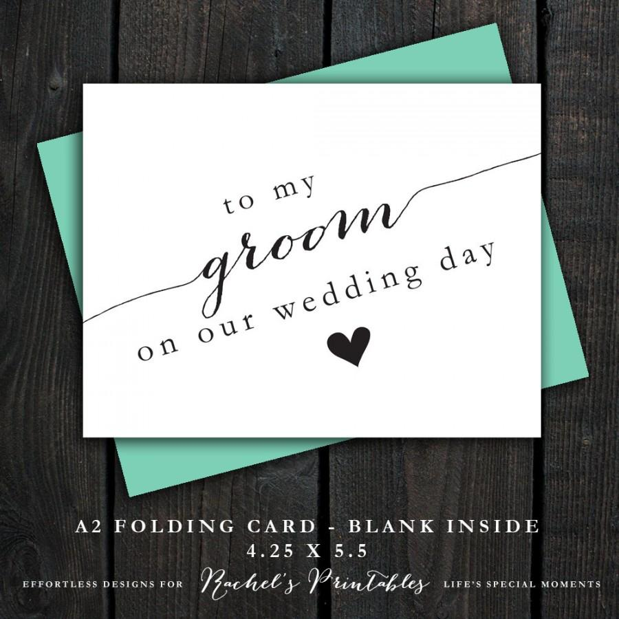 To My Groom On Our Wedding Day Card Diy Instant Download Card Note