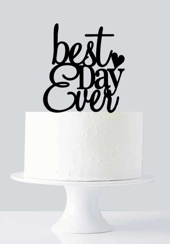 Mariage - Best Day Ever Cake Topper, Best Day Ever Monogram Cake Topper A1024