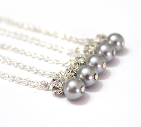 Wedding - Set of 6 Bridesmaid Necklaces,Sterling Silver Chain,Pearl and Rhinestone Necklaces, Pearl Necklaces,6 Pearl and Crystal Necklaces Gift Ideas