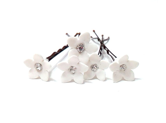 Small White Flower Hair Clips Wedding Accessory Pins Bridal Set