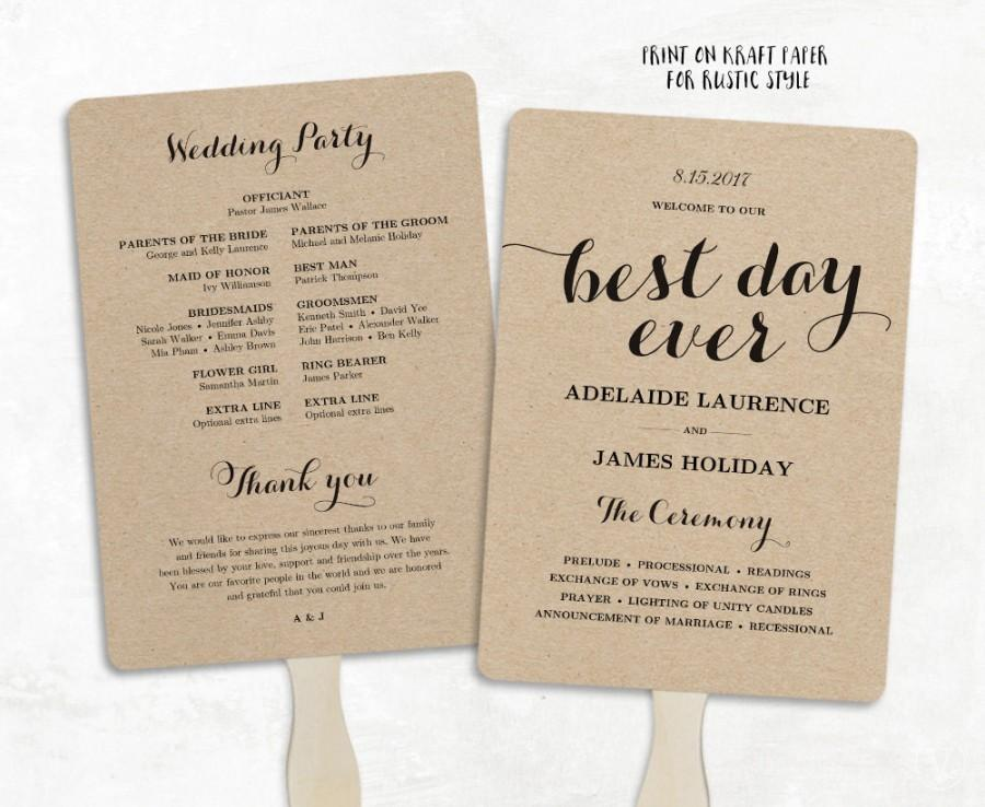 Hochzeit - Printable Wedding Program Template, Fan Wedding Program, DIY Kraft Wedding Programs,  Editable text, 5 x 7, 3 Colors Included, Best Day Ever