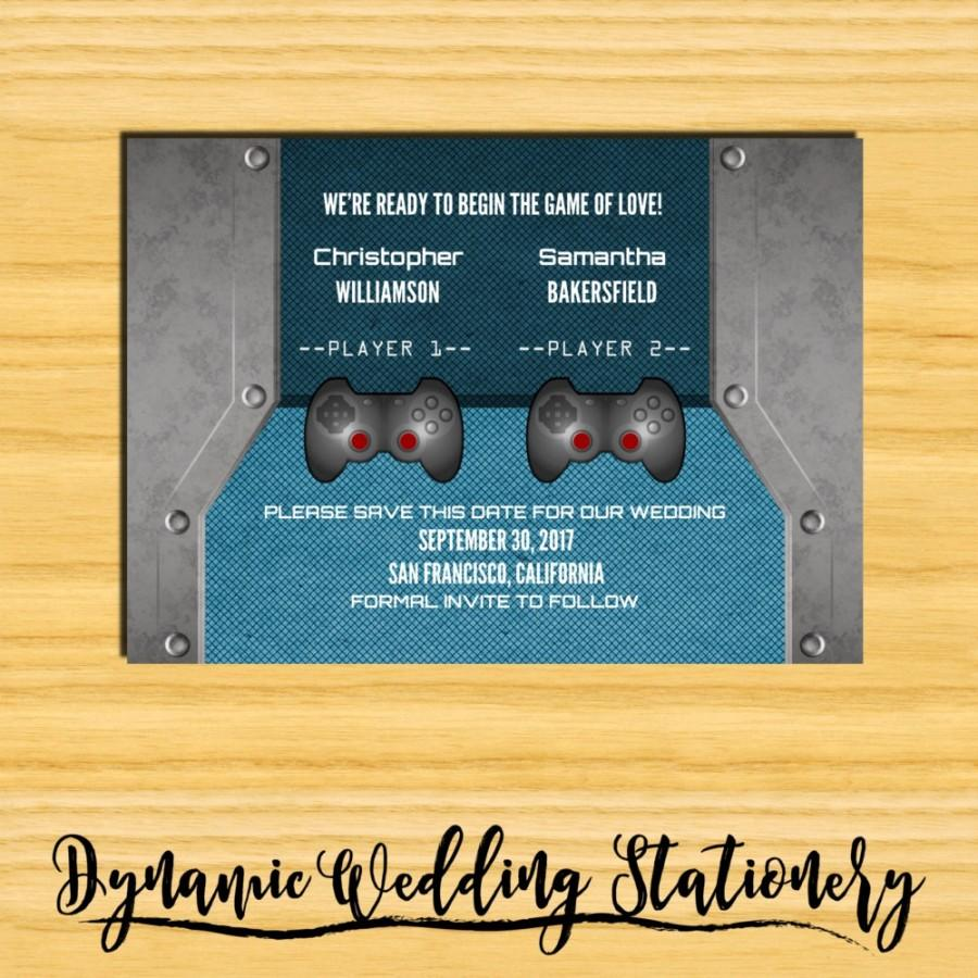 Mariage - Video Game Save the Date DIY Digital Printable Announcement, Gamer Wedding, Nerd, Offbeat, Geek, Multiple Color Options