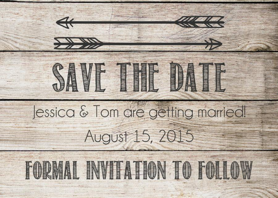 Save The Date Printable Postcard Rustic Tribal Arrows With - Rustic save the date templates