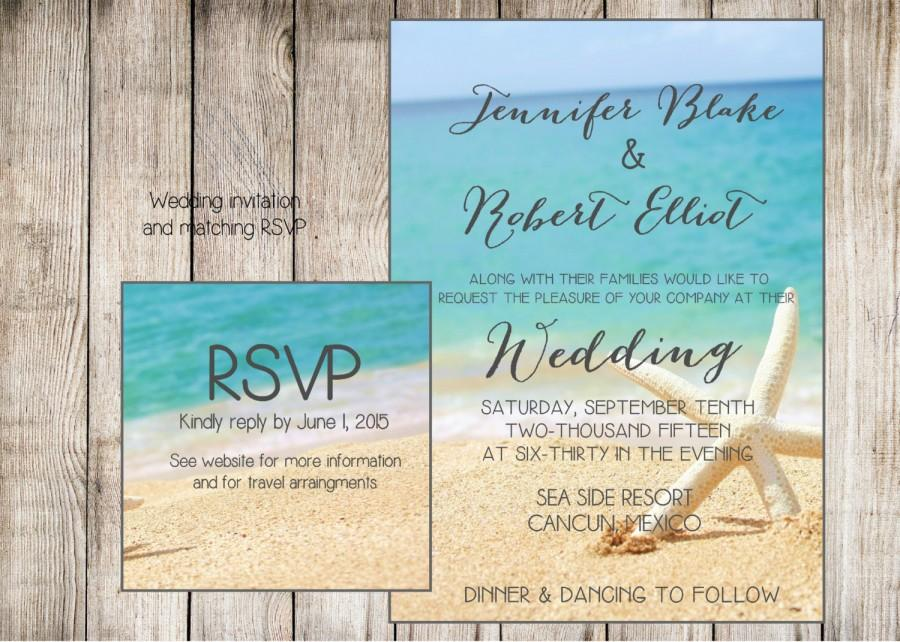 Beach Themed Wedding Invitations Templates: Beach Wedding Invitation. Starfish And Sand At The Beach