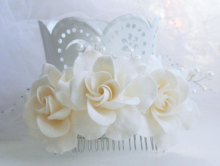 Mariage - Bridal flower headpiece, Bridal flower comb, Bridal hair flower, Wedding flower comb, Bridal pearl comb, Bridal hair accessory, Gargenia