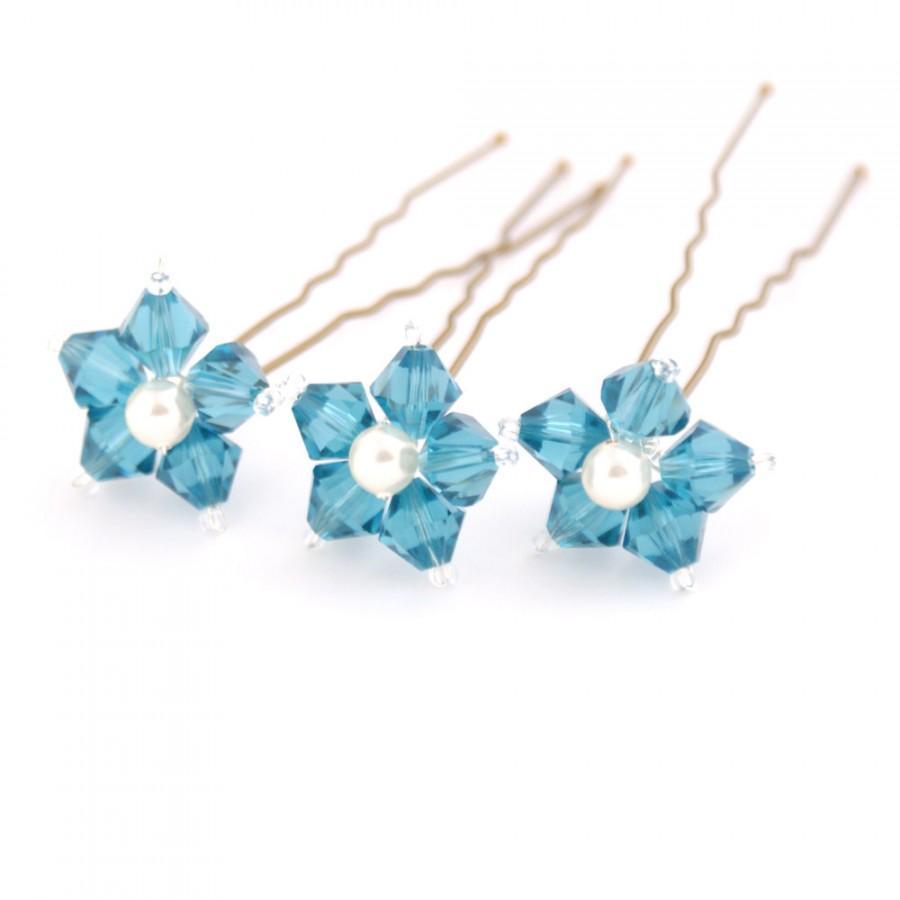 Mariage - Something Blue Wedding Hair Pins. Blue Flower Hair Pins. Swarovski Crystal - Indicolite.