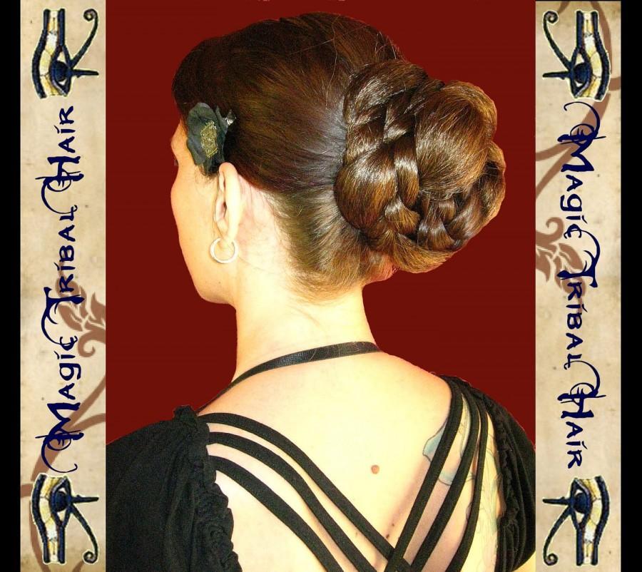 Mariage - C U S T O M wedding CHIGNON hair bun UPDO Reenactment fantasy Elven hair piece medieval Renaissance Hair Fall Tribal Fusion belly dance wig