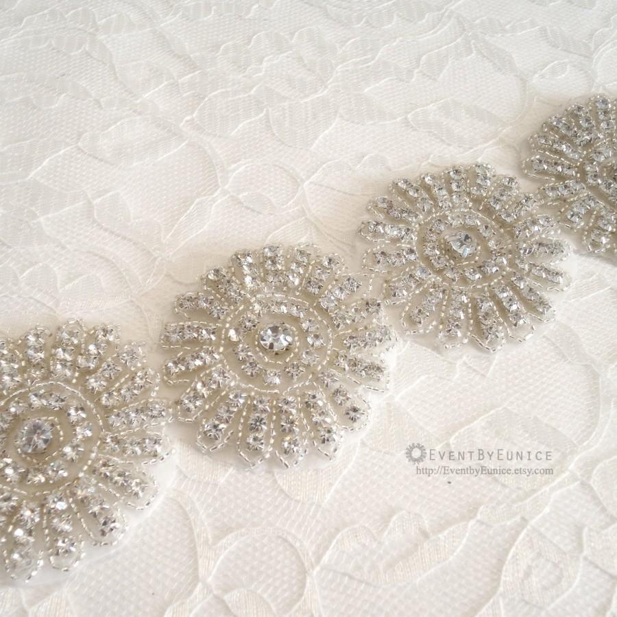 Mariage - Wedding Big Floral Belt, Bridal Belt, Wedding Sash, Bridal Sash, Crystal belt, Crystal sash, Bridesmaid Belt,  JASMINE