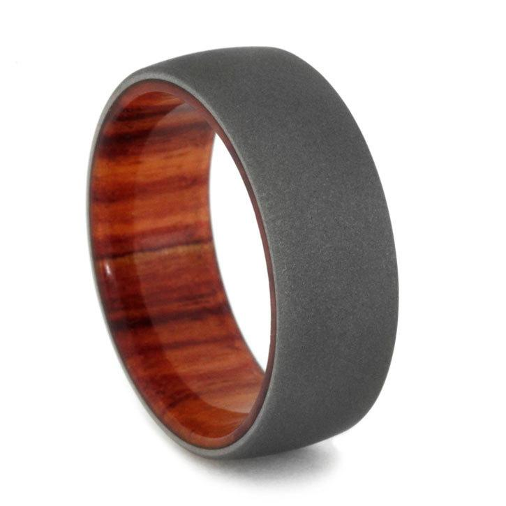 tulip wood mens wedding ring w sandblasted titanium finish wood wedding ring for men - Wooden Wedding Rings For Men