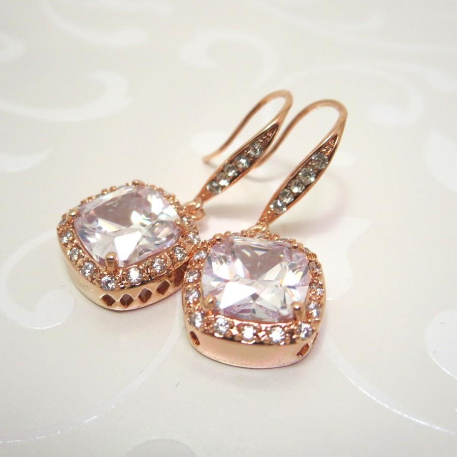 Mariage - Rose gold bridal earrings, Wedding earrings, Crystal earrings, Wedding jewelry, Gold earrings, Bridesmaid earrings, Cubic zirconia earrings