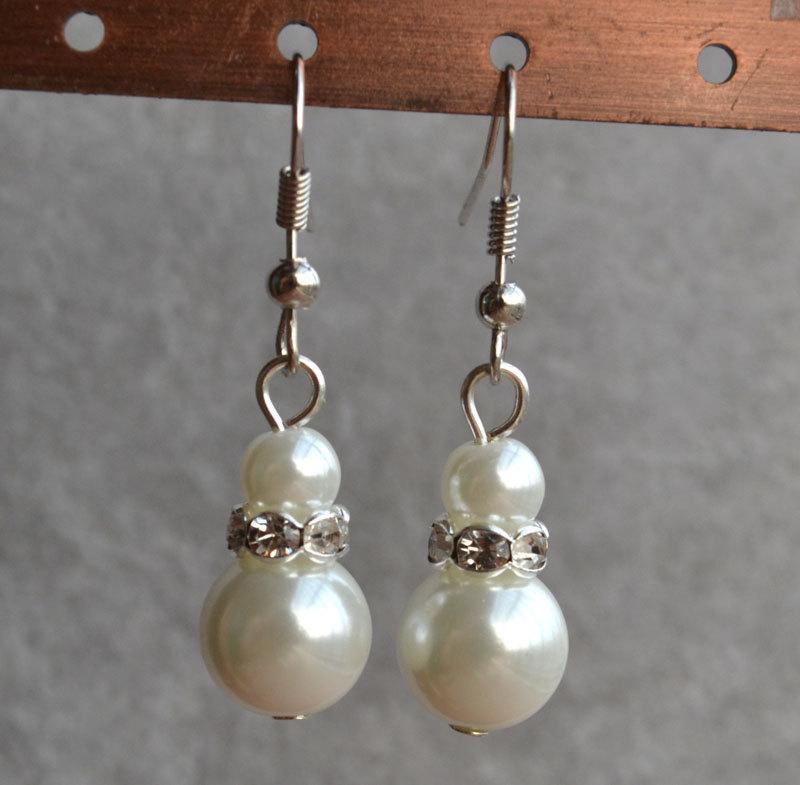 Mariage - white pearl earrings,Glass Pearl earrings,rhinestones earrings,dangle pearl earrings,Wedding earrings,bridesmaid earrings,Jewelry