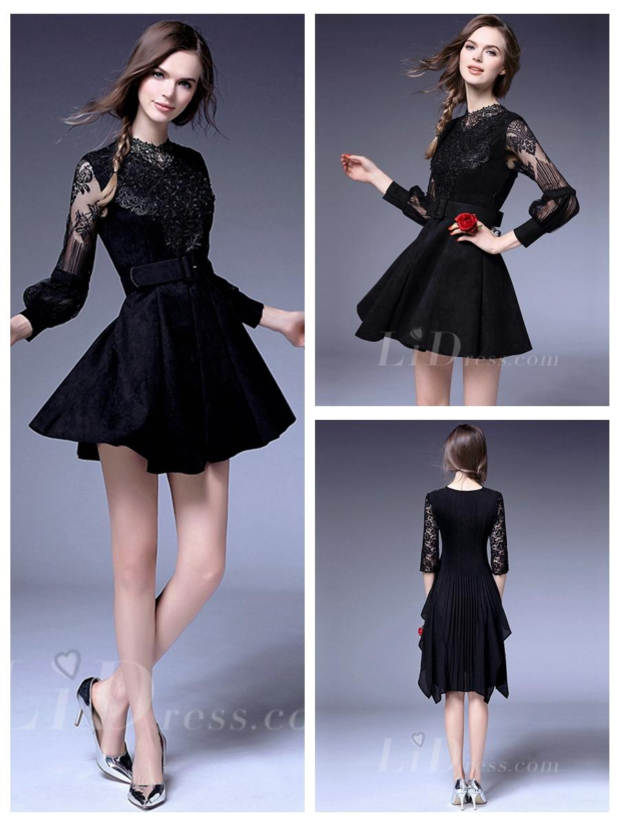 Свадьба - Black Long Sleeves Coctail Dress