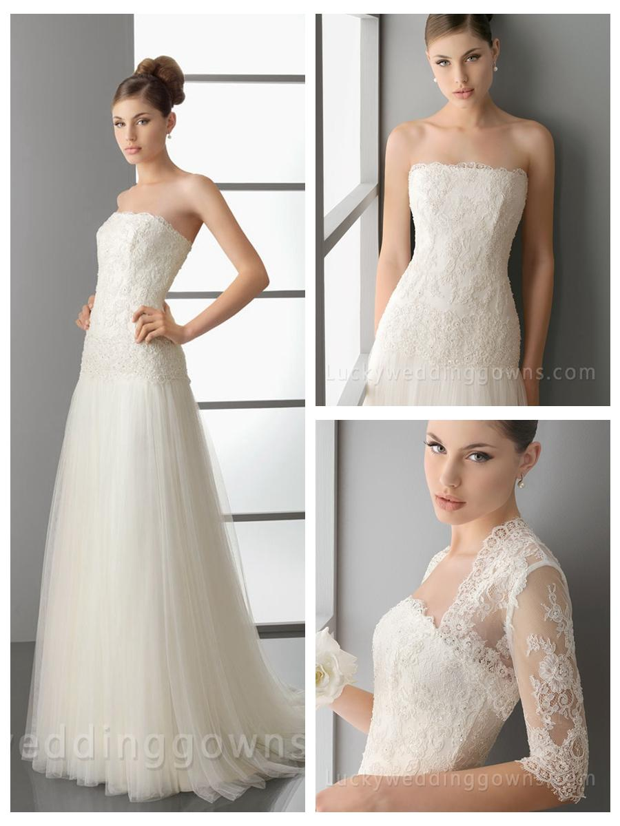 Wedding - Ivory Full A-Line Wedding Dress with Embroidered Bodice