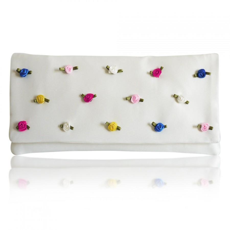 Mariage - Ivory colourful rosebud Flossie bridal clutch purse