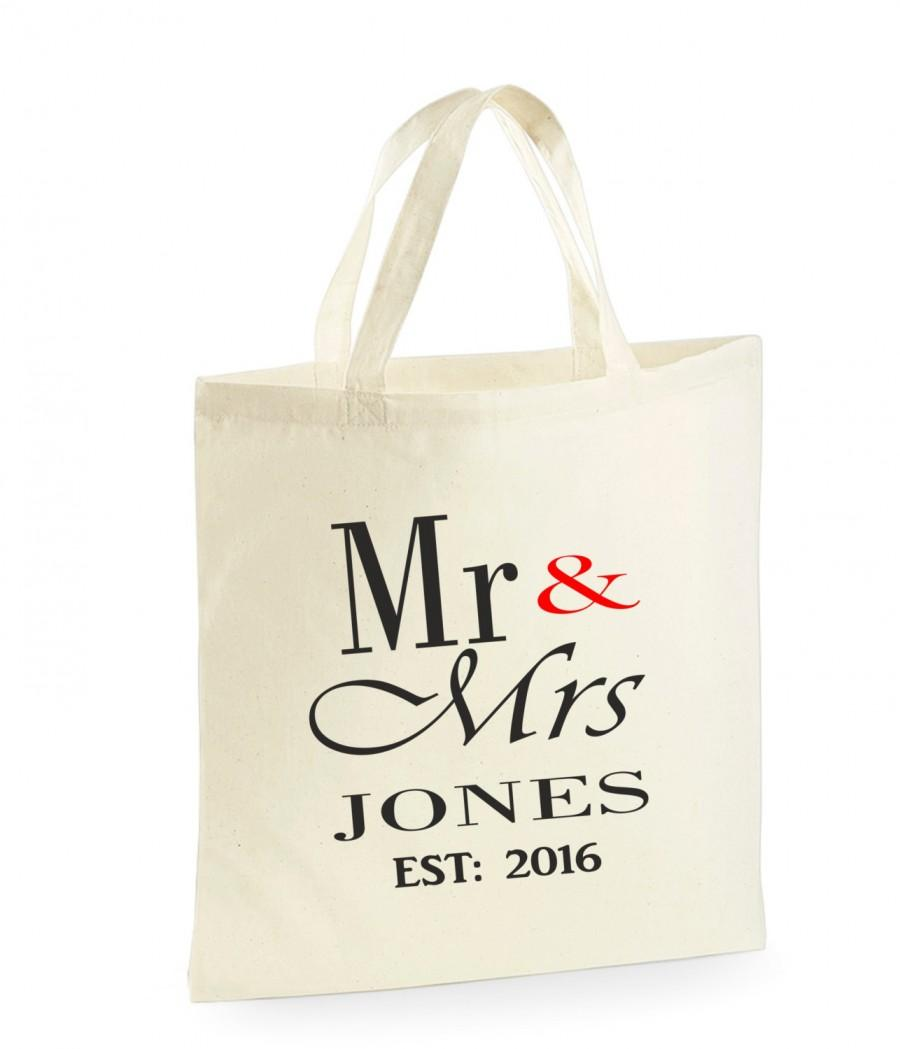Wedding Gift Bag Ideas: PERSONALISED Mr & Mrs Bag. Wedding Gifts. For The Bride