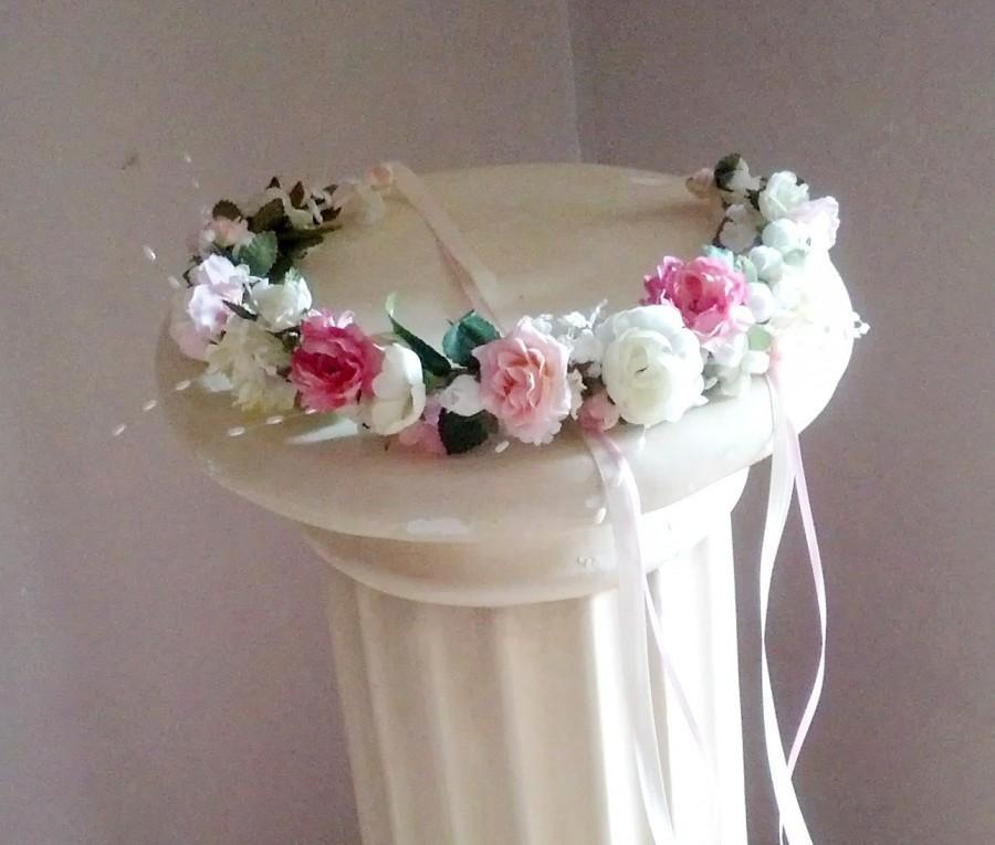 Mariage - Bridal Flower Crown Wedding Hair Accessories, Pink Headband, Floral Crown, Flower Girl Hair Wreath Wedding Headband, Halo, garland wreath