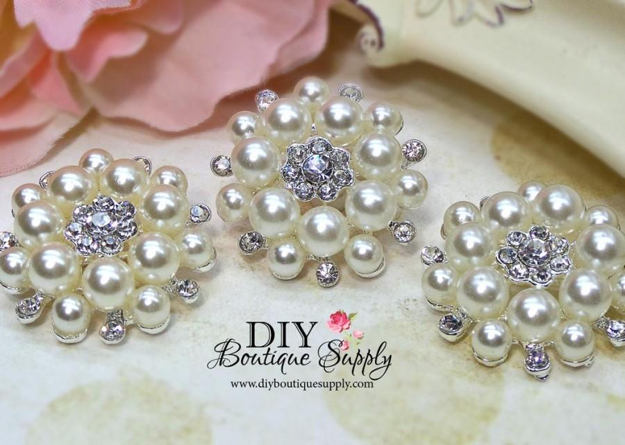 Mariage - 3 pcs 35mm Pearl Rhinestone Brooch Embellishment Shoe Clips Sash Pins Bridal Wedding accessories Headband Supplies Flower Centers 479070