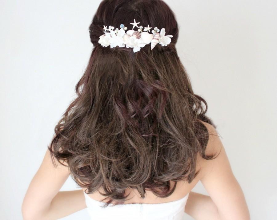 beach bridal comb sea hair piece tropical hair piece beach hair comb pearl hair comb crystals starfish hair comb beach wedding comb