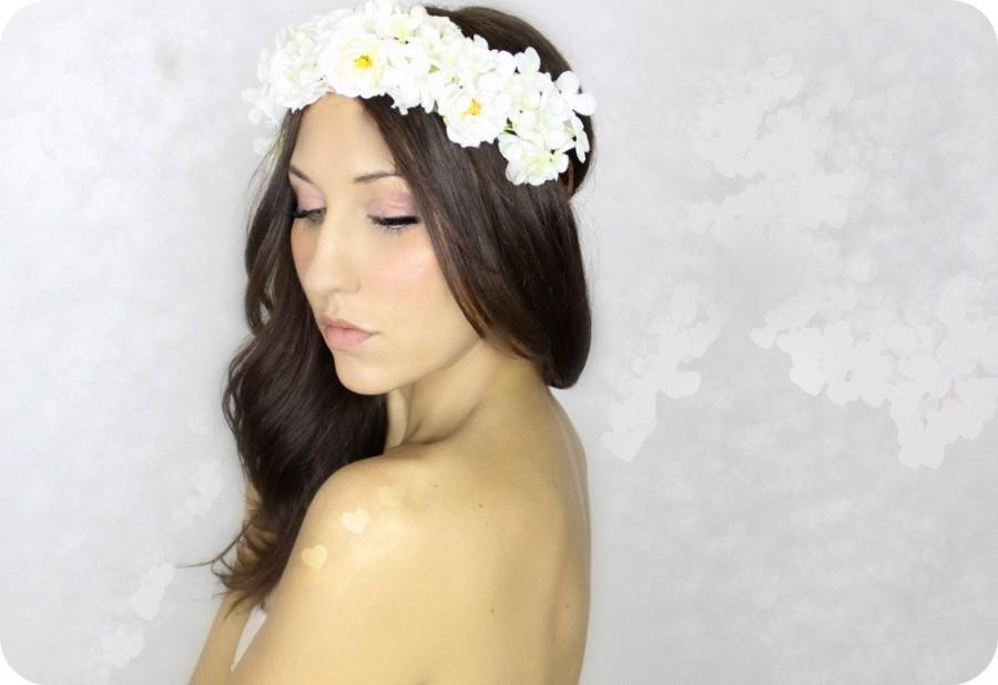 White flower crown wedding tiara fairy wedding woodland whimsical white flower crown wedding tiara fairy wedding woodland whimsical headband bridal hair wreath mightylinksfo