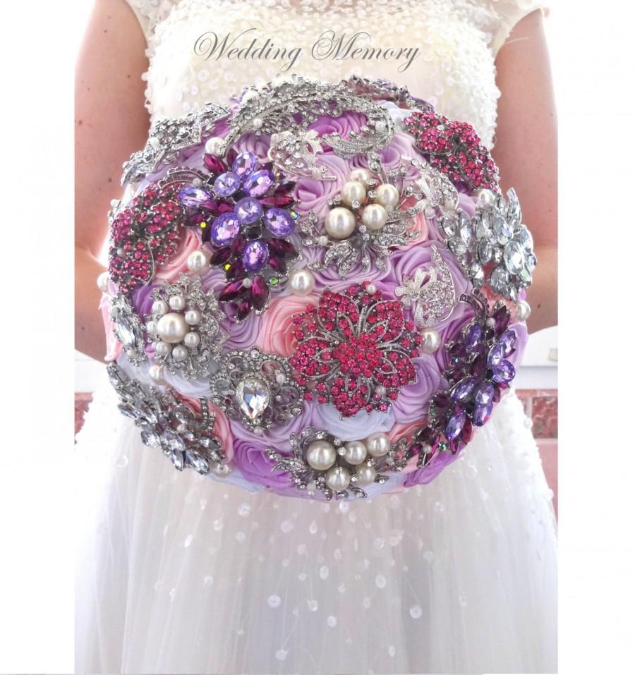 Hochzeit - BROOCH BOUQUET Pink and purple lavender wedding bridal broach boquet