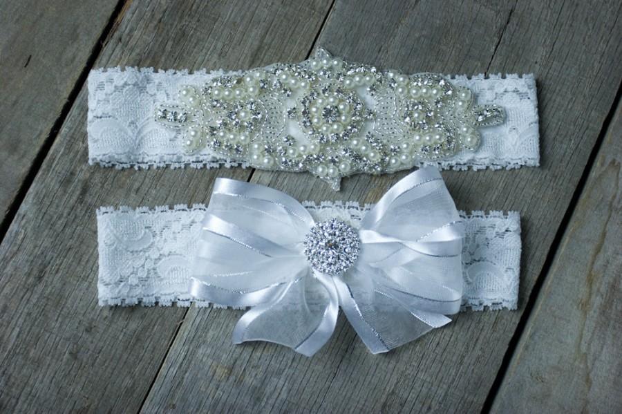 Wedding - Rhinestone Pearl Beaded Wedding Garter Set  Bridal Garter Set  Custom Fit