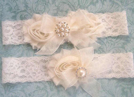 Wedding - SALE, Vintage Bridal Garter- Wedding Garter Set- Toss Garter included  Ivory with Rhinestones and Pearls  Custom Wedding colors