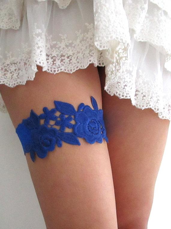 Hochzeit - Wedding Garter, Bridal Garter Set, Royal Blue Wedding Garter, Royal Blue Bridal Garter Lace Gartert : ELODIE Floral Guipure Lace Garter