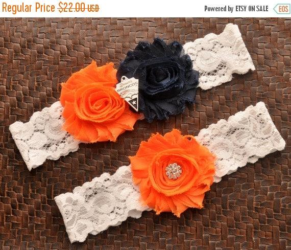Wedding - SALE Denver Broncos Wedding Garter Set, Denver Broncos Bridal Garter Set, White Lace Wedding Garter, Football Wedding Garter, Broncos Garter