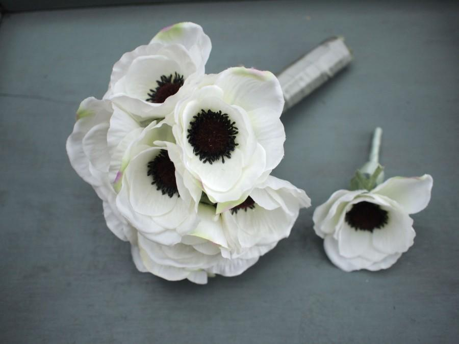 White Silk Anemone Bridal Bouquet And Grooms Boutonniere