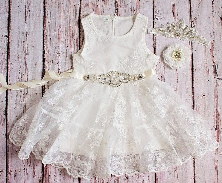 0ea8b4b97bd White Flower Girl Dress   Country Flower Girl Dress   Lace Dress..Rustic  Flower Girl   Ivory Lace Flower Girl Dress   White
