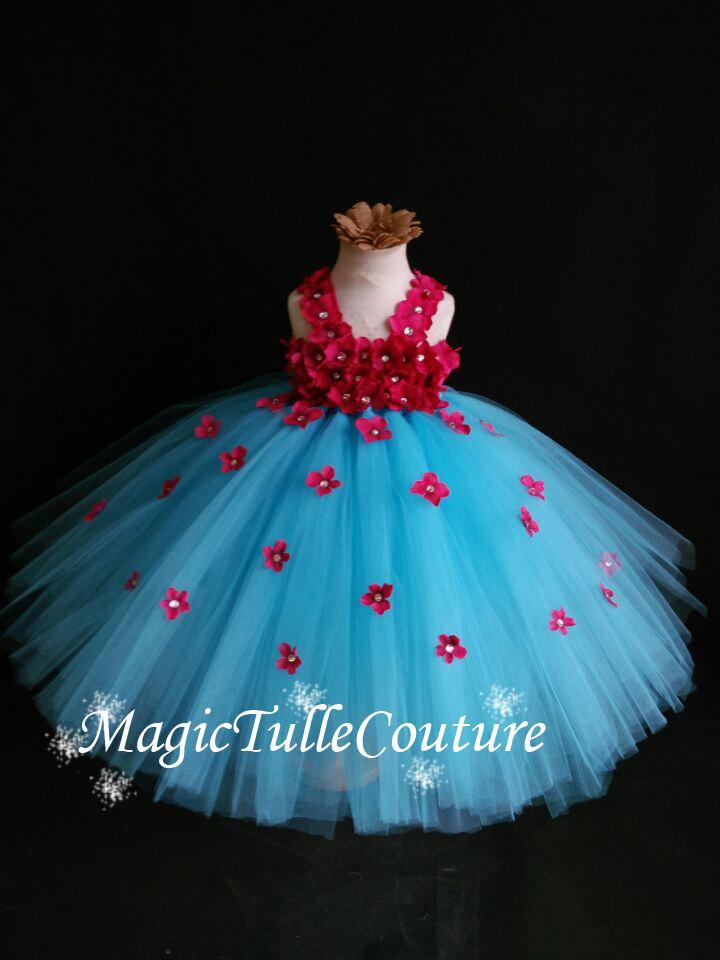 Turquoise And Hot Pink Hydrangea Flower Girl Dress Tulle Dress