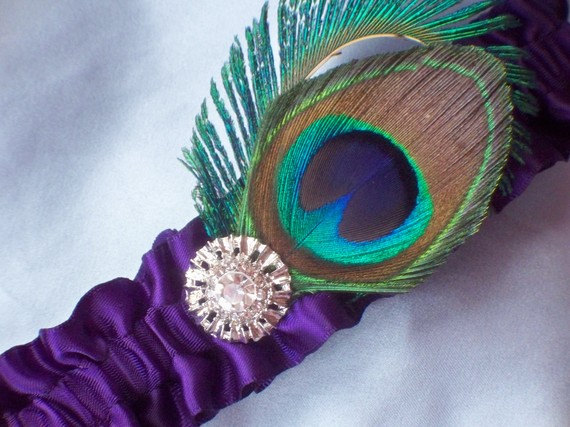 Wedding - Peacock Feather Dark Purple Rhinestone Accented Bridal Wedding Garter