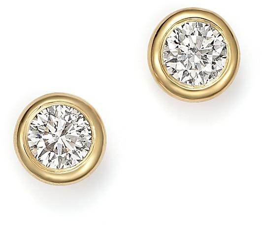 Wedding - Diamond Bezel Stud Earrings in 14K Yellow Gold, .25 ct. t.w.
