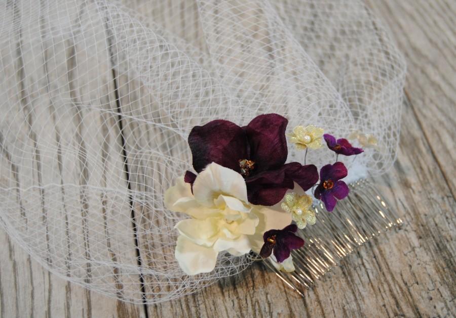 Mariage - Purple Flower Birdcage Veil - Gold Crystal Veil - Flower Wedding Veil - Short Wedding Veil - Purple Blusher Veil - Jasmine