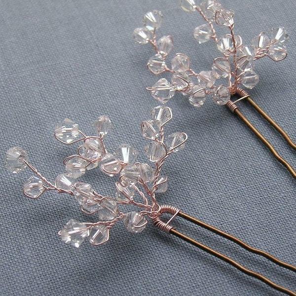 زفاف - Pretty Crystal Sprig Hairpin, Bridal Hairpins, Custom Colours, Bridal Hair Pins, Wedding Hairpins