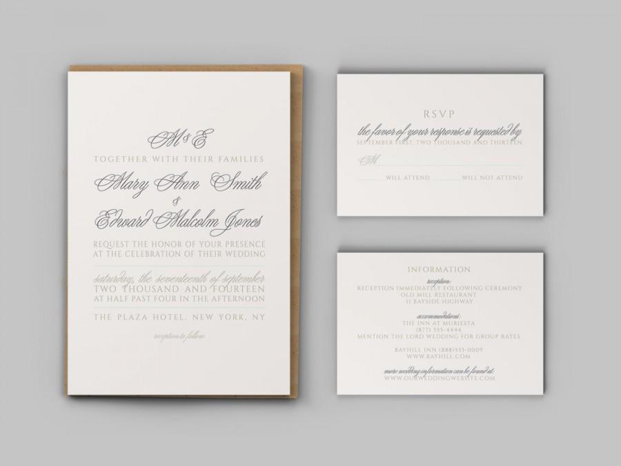 Mariage - Charming Monogram Wedding Invitation Set - Invitation, Response Card, and Enclosure Card - Custom Printable PDF