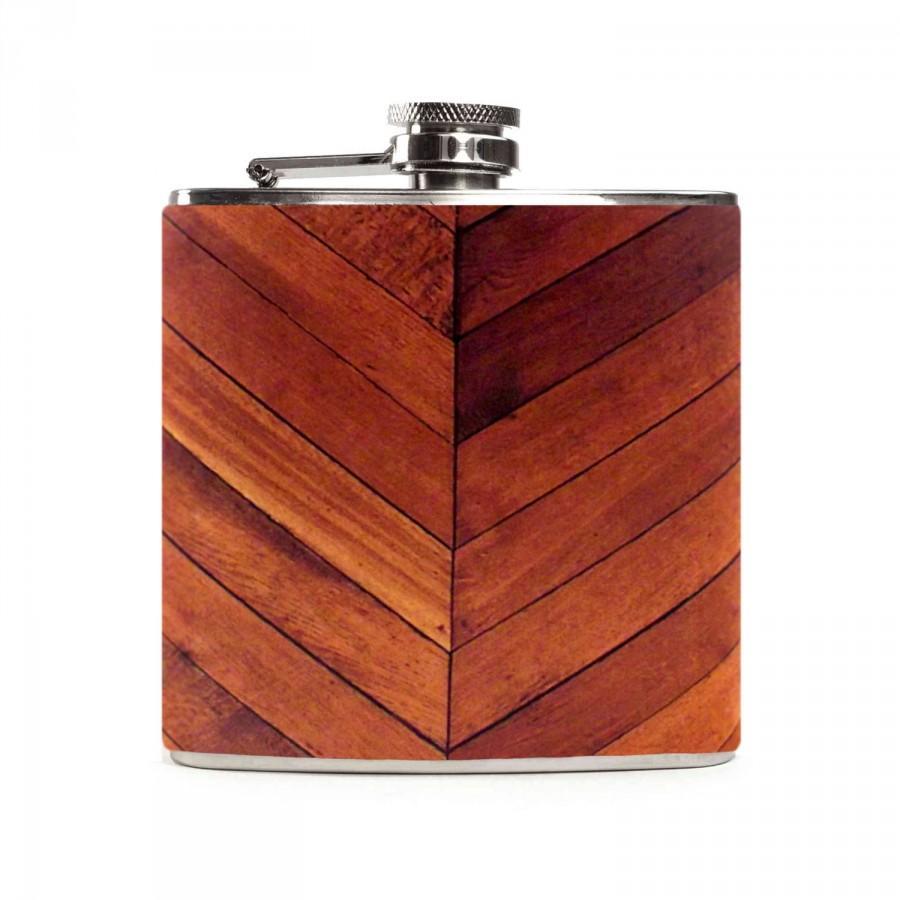 Mariage - Wood Flask, Custom Wooden Outdoor Wedding Party Gift, Groomsmen Flask, Stainless Steel 6oz Hip Flask