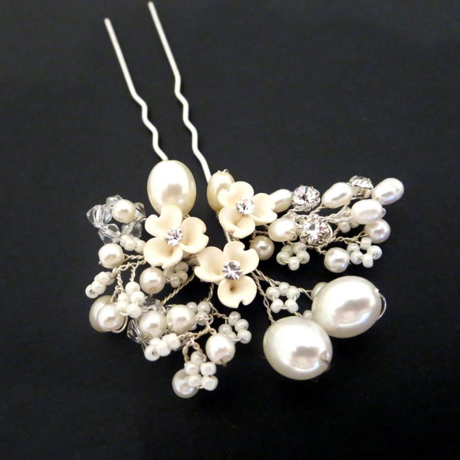 Hochzeit - Bridal hair pin, Bridal hair clip, Bridal hair comb, Pearl hair pin, Freshwater pearl, Swarovski crystal hair clip