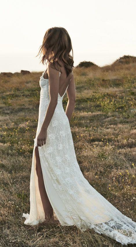 Boho Wedding Dresses Romantic Off Shoulder Beaded Lace White Beach ...
