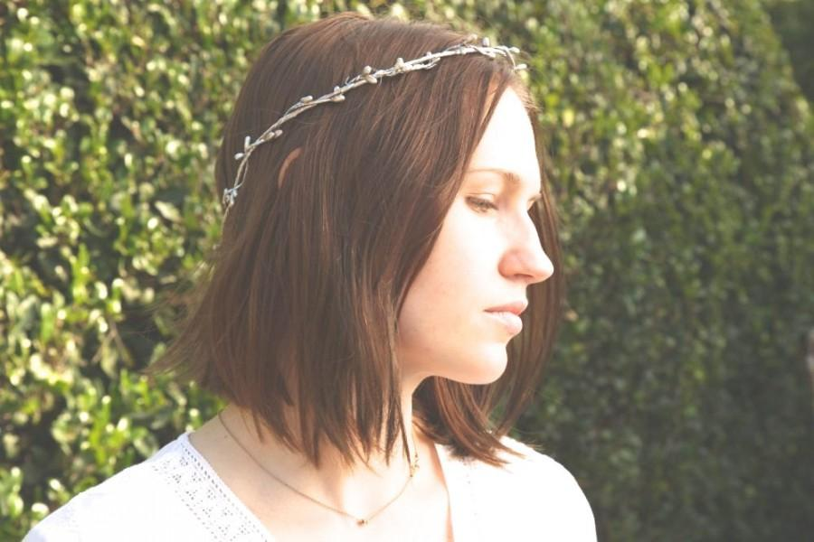 زفاف - Silver crown - Rustic wedding accessories - Bridal headpiece - floral headband - Wedding wreath - Bohemian bridesmaids - Bridal headpiece