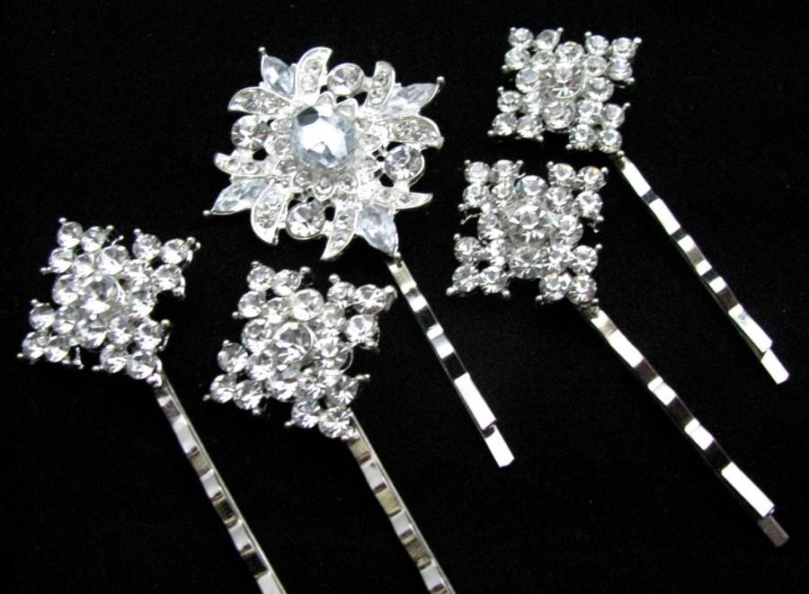 زفاف - Crystal Bobby Pins, Bridal Rhinestone Hair Pin Set, Wedding Hair Accessory, Something Blue, Jeweled Silver Hair Ornaments, Hair Clip