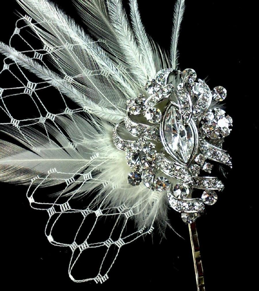 Mariage - Crystal Bridal Hair Pin, Swarovski Crystal Hair Comb, Rhinestone Hair Jewelry, Fleur De Lis Fascinator, VICKY
