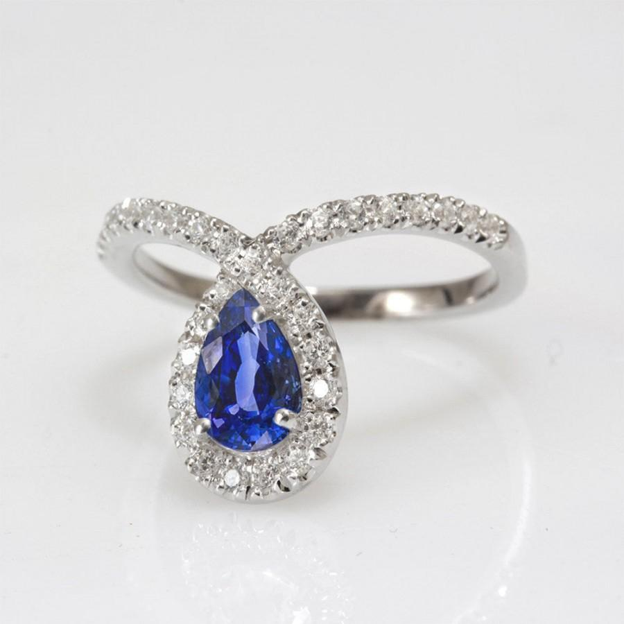 diamond unique sapphire petal stone ring two with collection and double engagement shaped pear platinum