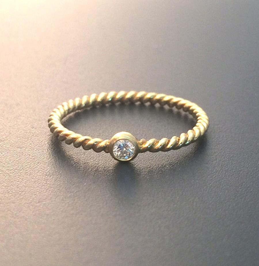 Wedding - Dainty diamond ring  Engagement ring Twisted band vermeil diamond stackable ring