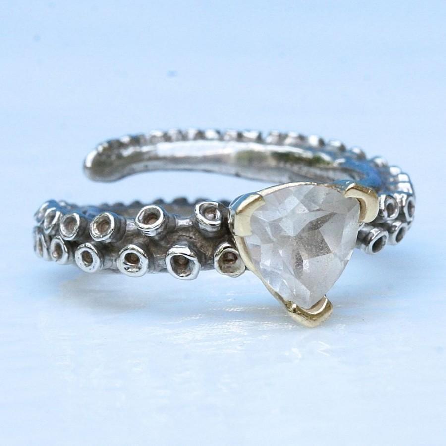 زفاف - octopus tentacle engagement ring 14k gold with a white topaz stone tentacle rings adjustable ring design by Zulasurfing