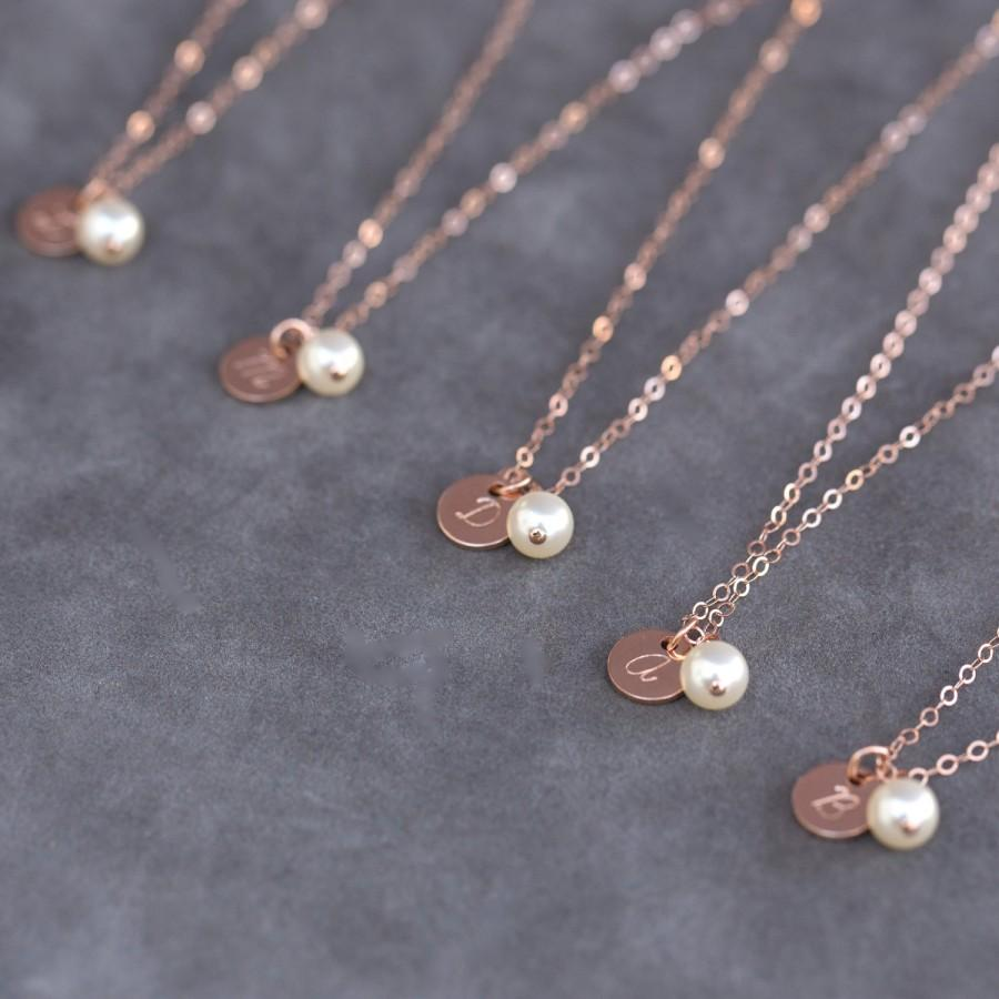 Wedding - Personalized Rose Gold Necklace, Pearl and Rose Gold Bridesmaid Gift Set of 7, Handstamped Initial Necklace, Pink Gold