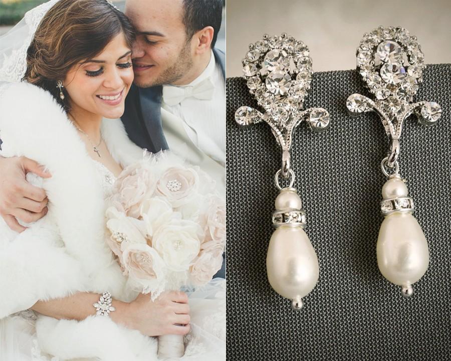 Mariage - ERIN, Crystal and Pearl Bridal Earrings, Rhinestone Wedding Earrings, Silver Bridal Crystal Earrings, Wedding Jewelry, Art Deco Drop Studs