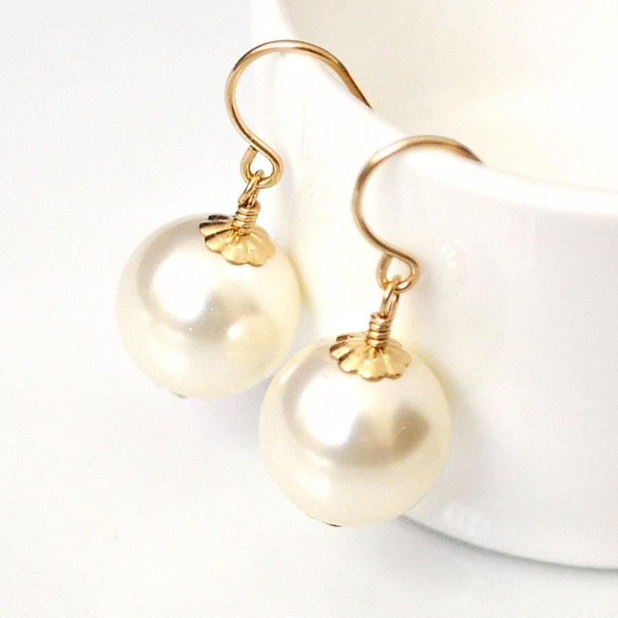 Gold Bridal Earrings Ivory Pearl Drop Swarovski Large