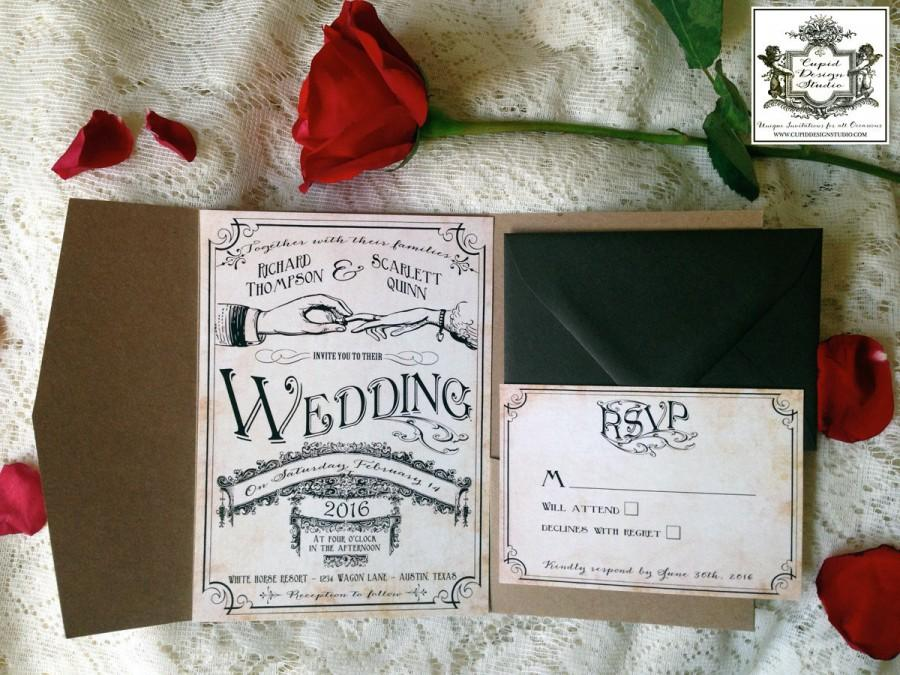 Wedding - Vintage wedding invitation. Rustic, Western, Country. Retro. Romantic. Designer invitations. Customized.